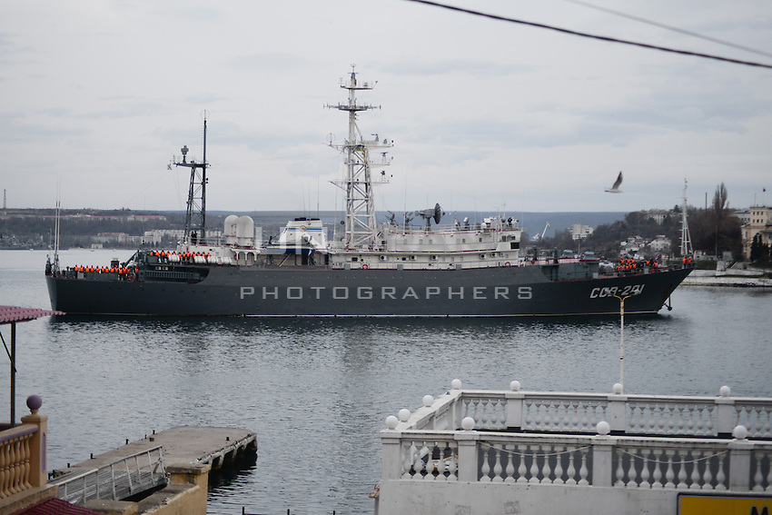 Russian military ship is entering the port of Sevastopol.