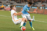 Melbourne, 21 July 2015 - Alessandro Florenzi of AS Roma and Manu García of Manchester City fight for the ball in game two of the International Champions Cup match at the Melbourne Cricket Ground, Australia. City def Roma 5-4 in Penalties. (Photo Sydney Low / AsteriskImages.com)