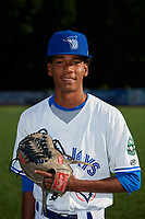 Bluefield Blue Jays pitcher Nathanael Perez (28) poses for a photo before a game against the Bristol Pirates on July 26, 2018 at Bowen Field in Bluefield, Virginia.  Bristol defeated Bluefield 7-6.  (Mike Janes/Four Seam Images)