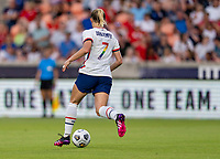HOUSTON, TX - JUNE 10: Abby Dahlkemper #7 of the USWNT dribbles the ball during a game between Portugal and USWNT at BBVA Stadium on June 10, 2021 in Houston, Texas.