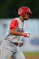 Williamsport Crosscutters first baseman Gabriel Lino #40 runs the bases after hitting a home run during a game against the Jamestown Jammers on June 20, 2013 at Russell Diethrick Park in Jamestown, New York.  Jamestown defeated Williamsport 12-6.  (Mike Janes/Four Seam Images)