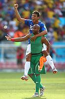 Patrick Pemberton and Oscar Granados of Costa Rica celebrate at full time