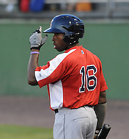 Outfielder Jackie Bradley Jr. (16) of the Salem Red Sox, a Boston Red Sox affiliate, in a game against the Potomac Nationals on June 8, 2012, at Pfitzner Stadium in Woodbridge, Virginia. Potomac won the second game of a doubleheader, 4-2. Bradley is the No. 10 Boston prospect, according to Baseball America. (Tom Priddy/Four Seam Images)
