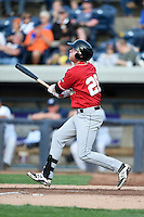 Great Lakes Loons third baseman Paul Hoenecke (28) at bat during a game against the West Michigan Whitecaps on June 4, 2014 at Fifth Third Ballpark in Comstock Park, Michigan.  West Michigan defeated Great Lakes 4-1.  (Mike Janes/Four Seam Images)