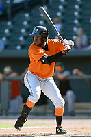 Designated hitter Jean Angomas (29) of the Augusta GreenJackets bats in a game against the Columbia Fireflieon Sunday, July 30, 2017, at Spirit Communications Park in Columbia, South Carolina. Augusta won, 6-0. (Tom Priddy/Four Seam Images)