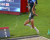 26th August 2021; Lausanne, Switzerland;  Jazmin Sawyer of Great Britain during the womens long jump at Diamond League athletics meeting  at La Pontaise Olympic Stadium in Lausanne, Switzerland.