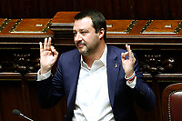 Matteo Salvini in yoga position<br /> Rome February 13th 2019. Lower Chamber. Ministers of Internal Affairs, of Labour and of Health at the Question Time at the Chamber of Deputies.<br /> Foto Samantha Zucchi Insidefoto