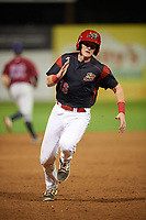 Batavia Muckdogs catcher Jared Barnes (26) rounds third base to score a run during a game against the Mahoning Valley Scrappers on August 30, 2017 at Dwyer Stadium in Batavia, New York.  Batavia defeated Mahoning Valley 5-1.  (Mike Janes/Four Seam Images)
