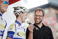 Edward Theuns (BEL/TopsportVlaanderen-Baloise) interviewed by Sporza comentator Christophe Vandegoor on the start stage<br /> <br /> GP Jef Scherens 2015