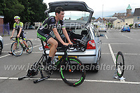 "Time for David Hewett of the Excel Pedal Heaven Academy race team to get a pre race warm up during the Abergavenny Festival of Cycling ""Grand Prix of Wales"" race on Sunday 17th 2016<br /> <br /> <br /> Jeff Thomas Photography -  www.jaypics.photoshelter.com - <br /> e-mail swansea1001@hotmail.co.uk -<br /> Mob: 07837 386244 -"
