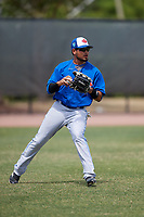 Toronto Blue Jays Norberto Obeso (13) during warmups before a Minor League Spring Training game against the Philadelphia Phillies on March 30, 2018 at Carpenter Complex in Clearwater, Florida.  (Mike Janes/Four Seam Images)