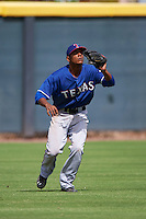 Texas Rangers Pedro Ogando (52) during an instructional league game against the Arizona Diamondbacks on October 10, 2015 at the Salt River Fields at Talking Stick in Scottsdale, Arizona.  (Mike Janes/Four Seam Images)