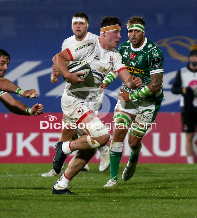 Friday 2nd October 2020   Ulster Rugby vs Benetton Rugby<br /> <br /> David McCann on the attack during the PRO14 Round 1 clash between Ulster Rugby and Benetton Rugby at Kingspan Stadium, Ravenhill Park, Belfast, Northern Ireland. Photo by John Dickson / Dicksondigital