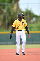 FCL Pirates Gold Rodolfo Nolasco (15) leads off second base during a game against the FCL Pirates Gold on July 2, 2021 at Pirate City in Bradenton, Florida.  (Mike Janes/Four Seam Images)