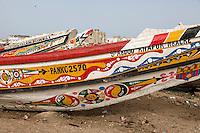 Senegal, Saint Louis.  Colorful Decoration on the Side of a Fishing Boat.