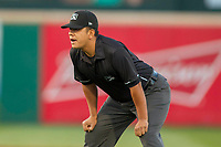 Base umpire Luis Hernandez in action during the game between the Rancho Cucamonga Quakes and the Lake Elsinore Storm at LoanMart Field on April 20, 2018 in Rancho Cucamonga, California. The Quakes defeated the Storm 7-5.  (Donn Parris/Four Seam Images)