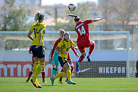 20200307  Lagos , Portugal : Danish midfielder Nicoline Soerensen (14) , Swedish Filippa Angelda (16) pictured during the female football game between the national teams of Sweden and Denmark on the second matchday of the Algarve Cup 2020 , a prestigious friendly womensoccer tournament in Portugal , on saturday 7 th March 2020 in Lagos , Portugal . PHOTO SPORTPIX.BE | STIJN AUDOOREN