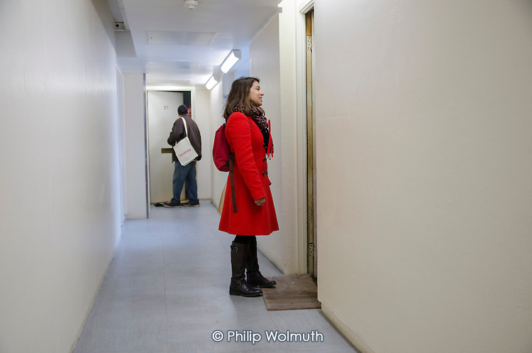 General election 2015: Tulip Siddiq, Labour candidate for Hampstead & Kilburn, the second most marginal seat in the UK, canvasses voters in a social housing block in Swiss Cottage.