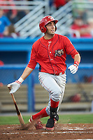 Williamsport Crosscutters first baseman Chris Serritella #26 hits a three run home run during a NY-Penn League game against the Batavia Muckdogs at Dwyer Stadium on August 24, 2012 in Batavia, New York.  Williamsport defeated Batavia 7-4.  (Mike Janes/Four Seam Images)