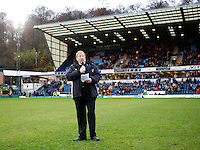 Photo: Richard Lane/Richard Lane Photography. London Wasps v Bath Rugby. LV=Cup. 14/11/2010. Wasps' Chaplin, David Chawner addresses the crowd before a minutes silence.