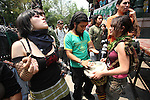 Mexican youths smoke marijuana while playing drums prior to a rally where hundreds of youths demanded to legalize marijuana during a rally in Mexico city, May 3, 2008.  Photo by Heriberto Rodriguez