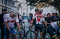 joy over the victory in the Suisse camp after the race<br /> <br /> MEN UNDER 23 ROAD RACE<br /> Kufstein to Innsbruck: 180 km<br /> <br /> UCI 2018 Road World Championships<br /> Innsbruck - Tirol / Austria