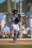Christopher Estrada Maldonado during the WWBA World Championship at the Roger Dean Complex on October 19, 2018 in Jupiter, Florida.  Christopher Estrada Maldonado is a catcher from Carolina, Puerto Rico who attends PRIBAHS.  (Mike Janes/Four Seam Images)
