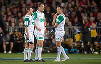 The referees confer during the 2021 Super Rugby Aotearoa final between the Crusaders and Chiefs at Orangetheory Stadium in Christchurch, New Zealand on Saturday, 8 May 2021. Photo: Joe Johnson / lintottphoto.co.nz