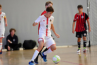 Torhan Kurnaz of Hamilton Boys' High School during the Futsal NZ Secondary Schools Junior Boys Final between Hamilton Boys High School and Selwyn College at ASB Sports Centre, Wellington on 26 March 2021.<br /> Copyright photo: Masanori Udagawa /  www.photosport.nz