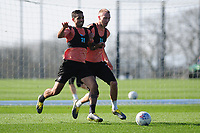Kyle Naughton of Swansea City battles with Mike van der Hoorn of Swansea City during the Swansea City Training at The Fairwood Training Ground in Swansea, Wales, UK. Wednesday 27 February 2019