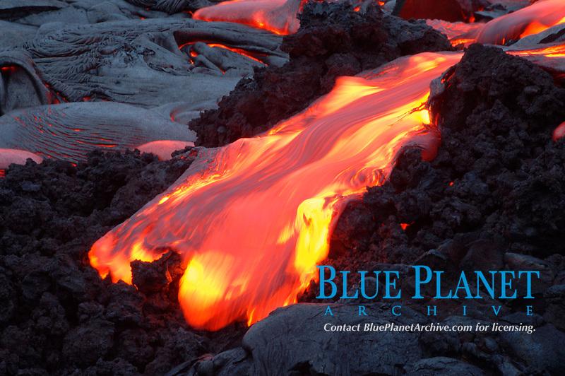 pohuehue lava flows thru a AA flow at dawn Hawaii, USA Volcanoes National Park, Kilauea Volcano, Big Island, Hawaii, USA, Pacific Ocean