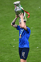 11th July 2021; Wembley Stadium, London, England; 2020 European Football Championships Final England versus Italy;  Ciro Immobile holds  the winners trophy
