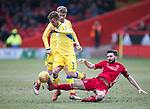 Aberdeen v St Johnstone…31.03.18…  Pittodrie    SPFL<br />Chris Millar is tackled by Graeme Shinnie<br />Picture by Graeme Hart. <br />Copyright Perthshire Picture Agency<br />Tel: 01738 623350  Mobile: 07990 594431
