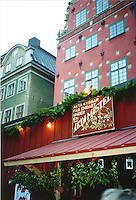 Mistletoe against the old-world buildings of the Gamla Stan old town in Stochholm