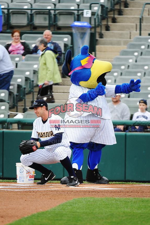 Trenton Thunder mascot Boomer during game against the Akron Aeros at ARM & HAMMER Park on April 17, 2013 in Trenton, New Jersey.  Akron defeated Trenton 10-6.  Tomasso DeRosa/Four Seam Images