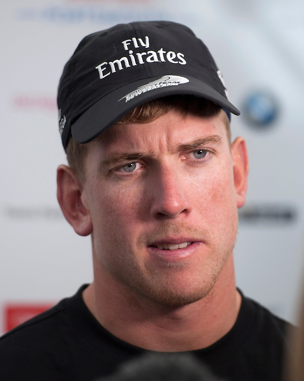 25 July 2015: Peter Burling, skipper Emirates Team New Zealand speaks to the media after the America's Cup first round racing off Portsmouth, England (Photo by Rob Munro)