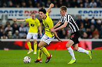 Blackburn Rovers' Lewis Travis holds off the challenge from Newcastle United's Sean Longstaff<br /> <br /> Photographer Alex Dodd/CameraSport<br /> <br /> Emirates FA Cup Third Round - Newcastle United v Blackburn Rovers - Saturday 5th January 2019 - St James' Park - Newcastle<br />  <br /> World Copyright © 2019 CameraSport. All rights reserved. 43 Linden Ave. Countesthorpe. Leicester. England. LE8 5PG - Tel: +44 (0) 116 277 4147 - admin@camerasport.com - www.camerasport.com