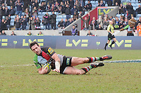 20130309 Copyright onEdition 2013©.Free for editorial use image, please credit: onEdition..Tom Guest of Harlequins scores a try during the LV= Cup semi final match between Harlequins and Bath Rugby at The Twickenham Stoop on Saturday 9th March 2013 (Photo by Rob Munro)..For press contacts contact: Sam Feasey at brandRapport on M: +44 (0)7717 757114 E: SFeasey@brand-rapport.com..If you require a higher resolution image or you have any other onEdition photographic enquiries, please contact onEdition on 0845 900 2 900 or email info@onEdition.com.This image is copyright onEdition 2013©..This image has been supplied by onEdition and must be credited onEdition. The author is asserting his full Moral rights in relation to the publication of this image. Rights for onward transmission of any image or file is not granted or implied. Changing or deleting Copyright information is illegal as specified in the Copyright, Design and Patents Act 1988. If you are in any way unsure of your right to publish this image please contact onEdition on 0845 900 2 900 or email info@onEdition.com