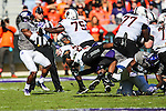 Oklahoma State Cowboys running back Ja'Ron Wilson (22) in action during the game between the Oklahoma State Cowboys and the TCU Horned Frogs at the Amon G. Carter Stadium in Fort Worth, Texas.