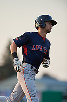 Lowell Spinners Wil Dalton (18) rounds the bases after hitting a home run during a NY-Penn League game against the Batavia Muckdogs on July 10, 2019 at Dwyer Stadium in Batavia, New York.  Batavia defeated Lowell 8-6.  (Mike Janes/Four Seam Images)