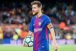 Lionel Andres Messi of FC Barcelona holds the ball after winning the La Liga match between FC Barcelona vs RCD Espanyol at the Camp Nou on 09 September 2017 in Barcelona, Spain. Lionel Andres scored a hat trick in this game. Photo by Vicens Gimenez / Power Sport Images