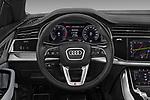 Steering wheel view of a 2019 Audi Q8 S Line 5 Door SUV