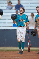 Max LeCroy (12) (Lenoir Rhyne) of the Mooresville Spinners waits at home plate to greet Davis Turner (not pictured) during the game against the Dry Pond Blue Sox at Moor Park on July 2, 2020 in Mooresville, NC.  The Spinners defeated the Blue Sox 9-4. (Brian Westerholt/Four Seam Images)