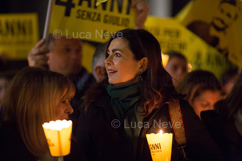 """Laura Boldrini MP (Member of Parliament for the Democratic Party PD and Former President of the Chamber of Deputies of Italy).<br /> <br /> Rome, 25/01/2020. Today, hundreds of people gathered outside the Pantheon, and in several squares across Italy, to hold a candlelit vigil marking the fourth anniversary of the disappearance of Giulio Regeni. Regeni was an Italian Cambridge University graduate (PhD student at Girton College, Cambridge) who was kidnapped, tortured and killed in Egypt while he was researching Egypt's independent trade unions. The body of the 28-year-old Cambridge PhD student was found on a Cairo road on Wednesday 3rd of February 2016. According to the autopsy, Giulio died after a vertebra in his neck was fractured. Moreover, his body - found on the Cairo-Alexandria desert road - shown signs of tortures, abrasions - including marks similar to cigarette burns - and fractures. After four years of disinformation, """"depistaggi"""", reticence, misdirections, the role of the Cambridge University and the role of the Egyptian regime of the President Al-Sisi, after four years of a very difficult investigations for the Italian Police, the Regeni's family, Amnesty International and thousands of people are still calling for the immediate truth about this brutal assassination. <br /> <br /> Footnotes & Links: <br /> http://bit.do/fqv6c (Facebook event)<br /> https://www.amnesty.it/<br /> https://www.amnesty.it/4annisenzagiulio/<br /> https://www.facebook.com/veritaegiustiziapergiulioregeni/ <br /> https://giuliosiamonoi.wordpress.com  <br /> Book """"Giulio Fa Cose"""" (Ed. Feltrinelli): http://bit.do/fqv39"""