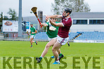 Bryan Murphy, Causeway in action against Jack O'Sullivan, Ballyduff, in the Senior Kerry Hurling Championship at Austin Stack Park on Sunday.