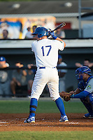 Zane Evans (17) of the Burlington Royals at bat against the Bluefield Blue Jays at Burlington Athletic Stadium on June 28, 2016 in Burlington, North Carolina.  The Royals defeated the Blue Jays 4-0.  (Brian Westerholt/Four Seam Images)