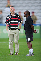 Conor O'Shea, Harlequins Director of Rugby (left), with Collin Osborne, Assistant First Team Coach, during the Aviva Premiership match between Harlequins and London Welsh at the Twickenham Stoop on Friday 7th September 2012 (Photo by Rob Munro)