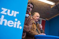 """AfD protestiert in Berlin gegen die Fluechtlingspolitik der Bundesregierung.<br /> Am Samstag den 31. Oktober 2015 versammelten sich ca. 250 Anhaenger der Rechts-Partei Alternative fuer Deutschland (AfD) zu einer Kundgebung gegen die Fluechtlings- und Asylpolitik der Bundesregierung. Dabei wurde die Bundeskanzlerin Angela Merkel mehrfach scharf angegriffen. Die Berichterstattung ueber Fluechtlinge in den Medien wurde mit lautstarken Rufen """"Luegenpresse"""" beschimpft.<br /> Der brandenburgische Landesvorsitzende Gauland forderte eine Fluechtlingspolitik wie in Japan, wo angeblich nur 20 Fluechtlinge pro Jahr aufgenommen werden.<br /> Etwa 350 Menschen protestierten gegen die Veranstaltung der Rechten und blockierten kurzzeitig deren Marschroute. Die Polizei ordnete daraufhin eine verkuerzte Route an und raeumte dafuer der AfD den Weg frei.<br /> Im Bild: Alexander Gauland, AfD-Landesvorsitzender Brandenburg redet zu den AfD-Anhaengern.<br /> 31.10.2015, Berlin<br /> Copyright: Christian-Ditsch.de<br /> [Inhaltsveraendernde Manipulation des Fotos nur nach ausdruecklicher Genehmigung des Fotografen. Vereinbarungen ueber Abtretung von Persoenlichkeitsrechten/Model Release der abgebildeten Person/Personen liegen nicht vor. NO MODEL RELEASE! Nur fuer Redaktionelle Zwecke. Don't publish without copyright Christian-Ditsch.de, Veroeffentlichung nur mit Fotografennennung, sowie gegen Honorar, MwSt. und Beleg. Konto: I N G - D i B a, IBAN DE58500105175400192269, BIC INGDDEFFXXX, Kontakt: post@christian-ditsch.de<br /> Bei der Bearbeitung der Dateiinformationen darf die Urheberkennzeichnung in den EXIF- und  IPTC-Daten nicht entfernt werden, diese sind in digitalen Medien nach §95c UrhG rechtlich geschuetzt. Der Urhebervermerk wird gemaess §13 UrhG verlangt.]"""