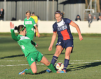 20131211 - HENIN-BEAUMONT , France :  Henin's Gwenaelle Devleesschauwer (left) pictured tackling on PSG's Lindsey Horan  during the female soccer match between FC Henin Beaumont and Paris Saint-Germain Feminin , of the Ninth matchday in the French First Female Division . Wednesday 11 December 2013. PHOTO DAVID CATRY