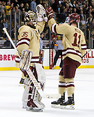 Parker Milner (BC - 35), Pat Mullane (BC - 11) - The Boston College Eagles defeated the Boston University Terriers 3-2 (OT) to win the 2012 Beanpot championship on Monday, February 13, 2012, at TD Garden in Boston, Massachusetts.